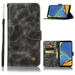 Luxury Retro Leather Wallet Case for Samsung Galaxy A9 (2018) / A9 Star Pro / A9s - Gray