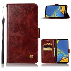 Luxury Retro Leather Wallet Case for Samsung Galaxy A9 (2018) / A9 Star Pro / A9s - Wine Red