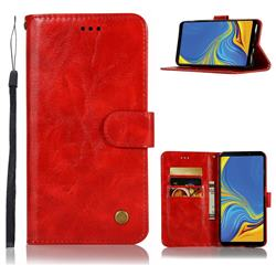 Luxury Retro Leather Wallet Case for Samsung Galaxy A9 (2018) / A9 Star Pro / A9s - Red