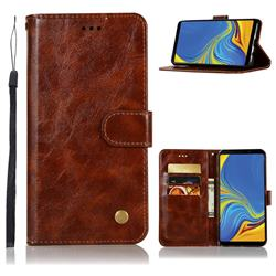 Luxury Retro Leather Wallet Case for Samsung Galaxy A9 (2018) / A9 Star Pro / A9s - Brown