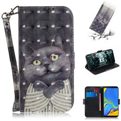 Cat Embrace 3D Painted Leather Wallet Phone Case for Samsung Galaxy A9 (2018) / A9 Star Pro / A9s