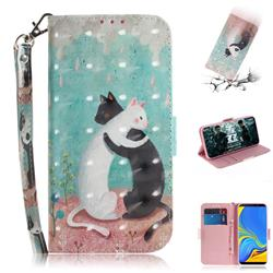 Black and White Cat 3D Painted Leather Wallet Phone Case for Samsung Galaxy A9 (2018) / A9 Star Pro / A9s