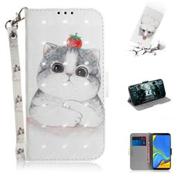 Cute Tomato Cat 3D Painted Leather Wallet Phone Case for Samsung Galaxy A9 (2018) / A9 Star Pro / A9s