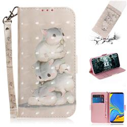 Three Squirrels 3D Painted Leather Wallet Phone Case for Samsung Galaxy A9 (2018) / A9 Star Pro / A9s