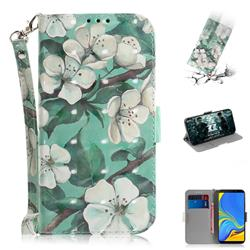 Watercolor Flower 3D Painted Leather Wallet Phone Case for Samsung Galaxy A9 (2018) / A9 Star Pro / A9s