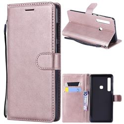 Retro Greek Classic Smooth PU Leather Wallet Phone Case for Samsung Galaxy A9 (2018) / A9 Star Pro / A9s - Rose Gold