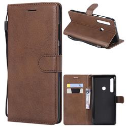 Retro Greek Classic Smooth PU Leather Wallet Phone Case for Samsung Galaxy A9 (2018) / A9 Star Pro / A9s - Brown