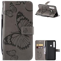Embossing 3D Butterfly Leather Wallet Case for Samsung Galaxy A9 (2018) / A9 Star Pro / A9s - Gray