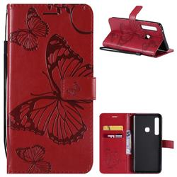 Embossing 3D Butterfly Leather Wallet Case for Samsung Galaxy A9 (2018) / A9 Star Pro / A9s - Red