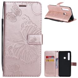 Embossing 3D Butterfly Leather Wallet Case for Samsung Galaxy A9 (2018) / A9 Star Pro / A9s - Rose Gold