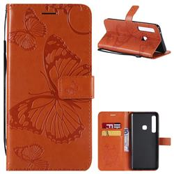 Embossing 3D Butterfly Leather Wallet Case for Samsung Galaxy A9 (2018) / A9 Star Pro / A9s - Orange