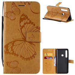 Embossing 3D Butterfly Leather Wallet Case for Samsung Galaxy A9 (2018) / A9 Star Pro / A9s - Yellow