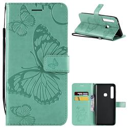Embossing 3D Butterfly Leather Wallet Case for Samsung Galaxy A9 (2018) / A9 Star Pro / A9s - Green
