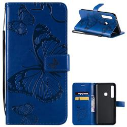 Embossing 3D Butterfly Leather Wallet Case for Samsung Galaxy A9 (2018) / A9 Star Pro / A9s - Blue