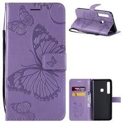 Embossing 3D Butterfly Leather Wallet Case for Samsung Galaxy A9 (2018) / A9 Star Pro / A9s - Purple