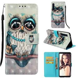 Sweet Gray Owl 3D Painted Leather Wallet Case for Samsung Galaxy A9 (2018) / A9 Star Pro / A9s
