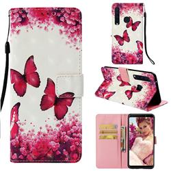 Rose Butterfly 3D Painted Leather Wallet Case for Samsung Galaxy A9 (2018) / A9 Star Pro / A9s