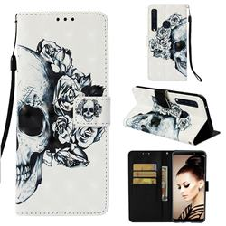 Skull Flower 3D Painted Leather Wallet Case for Samsung Galaxy A9 (2018) / A9 Star Pro / A9s