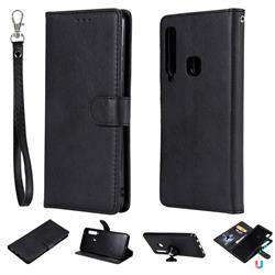 Retro Greek Detachable Magnetic PU Leather Wallet Phone Case for Samsung Galaxy A9 (2018) / A9 Star Pro / A9s - Black