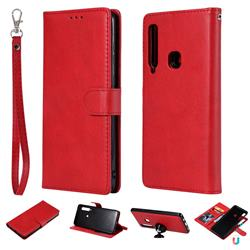Retro Greek Detachable Magnetic PU Leather Wallet Phone Case for Samsung Galaxy A9 (2018) / A9 Star Pro / A9s - Red