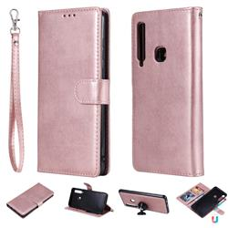 Retro Greek Detachable Magnetic PU Leather Wallet Phone Case for Samsung Galaxy A9 (2018) / A9 Star Pro / A9s - Rose Gold
