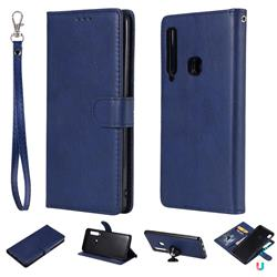 Retro Greek Detachable Magnetic PU Leather Wallet Phone Case for Samsung Galaxy A9 (2018) / A9 Star Pro / A9s - Blue