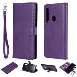Retro Greek Detachable Magnetic PU Leather Wallet Phone Case for Samsung Galaxy A9 (2018) / A9 Star Pro / A9s - Purple