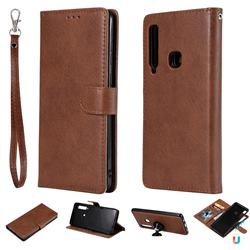 Retro Greek Detachable Magnetic PU Leather Wallet Phone Case for Samsung Galaxy A9 (2018) / A9 Star Pro / A9s - Brown