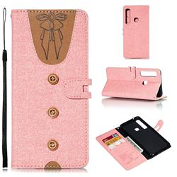 Ladies Bow Clothes Pattern Leather Wallet Phone Case for Samsung Galaxy A9 (2018) / A9 Star Pro / A9s - Pink