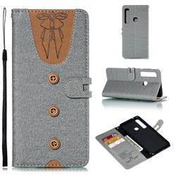 Ladies Bow Clothes Pattern Leather Wallet Phone Case for Samsung Galaxy A9 (2018) / A9 Star Pro / A9s - Gray