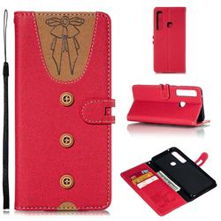 Ladies Bow Clothes Pattern Leather Wallet Phone Case for Samsung Galaxy A9 (2018) / A9 Star Pro / A9s - Red