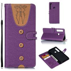 Ladies Bow Clothes Pattern Leather Wallet Phone Case for Samsung Galaxy A9 (2018) / A9 Star Pro / A9s - Purple