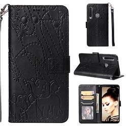 Embossing Fireworks Elephant Leather Wallet Case for Samsung Galaxy A9 (2018) / A9 Star Pro / A9s - Black