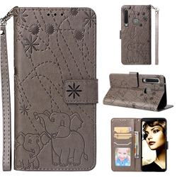 Embossing Fireworks Elephant Leather Wallet Case for Samsung Galaxy A9 (2018) / A9 Star Pro / A9s - Gray