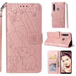 Embossing Fireworks Elephant Leather Wallet Case for Samsung Galaxy A9 (2018) / A9 Star Pro / A9s - Rose Gold