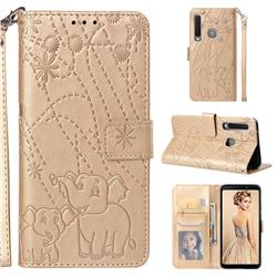 Embossing Fireworks Elephant Leather Wallet Case for Samsung Galaxy A9 (2018) / A9 Star Pro / A9s - Golden