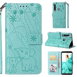 Embossing Fireworks Elephant Leather Wallet Case for Samsung Galaxy A9 (2018) / A9 Star Pro / A9s - Green