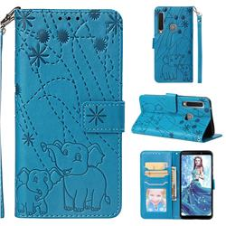 Embossing Fireworks Elephant Leather Wallet Case for Samsung Galaxy A9 (2018) / A9 Star Pro / A9s - Blue