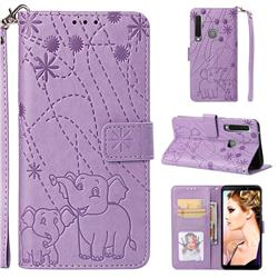 Embossing Fireworks Elephant Leather Wallet Case for Samsung Galaxy A9 (2018) / A9 Star Pro / A9s - Purple