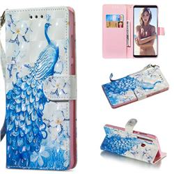 Blue Peacock 3D Painted Leather Wallet Phone Case for Samsung Galaxy A9 (2018) / A9 Star Pro / A9s