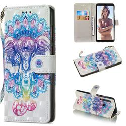 Colorful Elephant 3D Painted Leather Wallet Phone Case for Samsung Galaxy A9 (2018) / A9 Star Pro / A9s