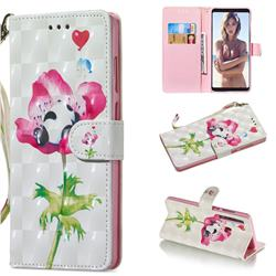 Flower Panda 3D Painted Leather Wallet Phone Case for Samsung Galaxy A9 (2018) / A9 Star Pro / A9s