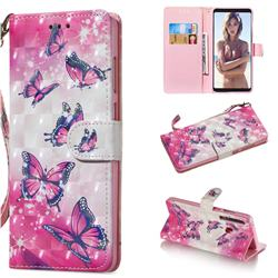 Pink Butterfly 3D Painted Leather Wallet Phone Case for Samsung Galaxy A9 (2018) / A9 Star Pro / A9s