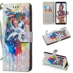 Watercolor Owl 3D Painted Leather Wallet Phone Case for Samsung Galaxy A9 (2018) / A9 Star Pro / A9s