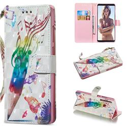 Music Pen 3D Painted Leather Wallet Phone Case for Samsung Galaxy A9 (2018) / A9 Star Pro / A9s
