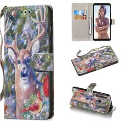 Elk Deer 3D Painted Leather Wallet Phone Case for Samsung Galaxy A9 (2018) / A9 Star Pro / A9s