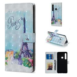 Paris Tower 3D Painted Leather Phone Wallet Case for Samsung Galaxy A9 (2018) / A9 Star Pro / A9s