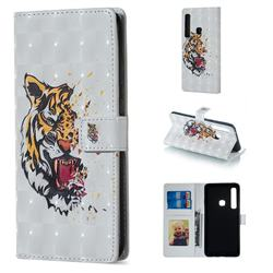 Toothed Tiger 3D Painted Leather Phone Wallet Case for Samsung Galaxy A9 (2018) / A9 Star Pro / A9s