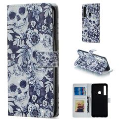 Skull Flower 3D Painted Leather Phone Wallet Case for Samsung Galaxy A9 (2018) / A9 Star Pro / A9s