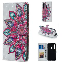 Mandara Flower 3D Painted Leather Phone Wallet Case for Samsung Galaxy A9 (2018) / A9 Star Pro / A9s